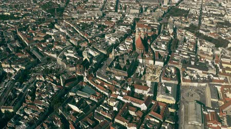 bajor : High altitude aerial shot of Munich involving famous Max-Joseph-Platz square and Frauenkirche church, Germany