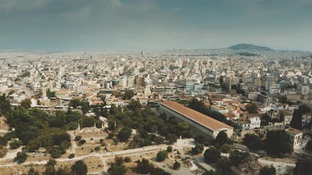 aerial athens : Aerial view of the Stoa of Attalos museum and Ancient Agora of Athens, a central public space in ancient Greek city, Greece