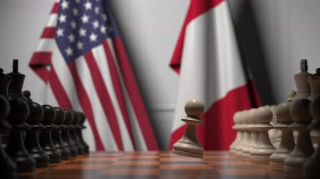 соперничество : Flags of USA and Peru behind pawns on the chessboard. Chess game or political rivalry related 3D animation