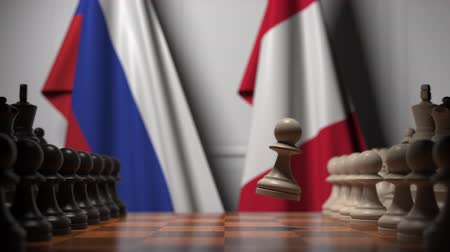 bandera peru : Flags of Russia and Peru behind pawns on the chessboard. Chess game or political rivalry related 3D animation