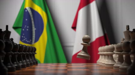 perui : Flags of Brazil and Peru behind pawns on the chessboard. Chess game or political rivalry related 3D animation
