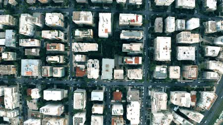 aerial athens : Aerial top down shot of streets and buildings pattern in Athens, Greece Stock Footage