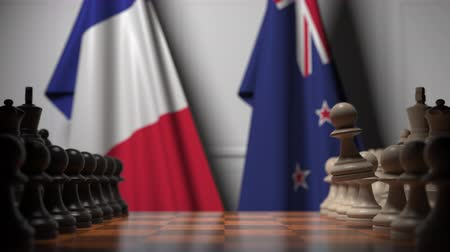 treaty : Flags of France and New Zealand behind pawns on the chessboard. Chess game or political rivalry related 3D animation Stock Footage