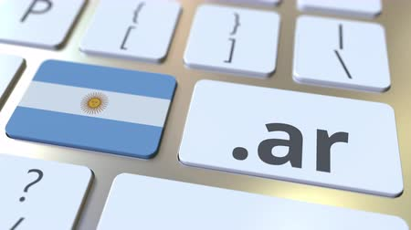 doména : Argentinean domain .ar and flag of Argentina on the buttons on the computer keyboard. National internet related 3D animation