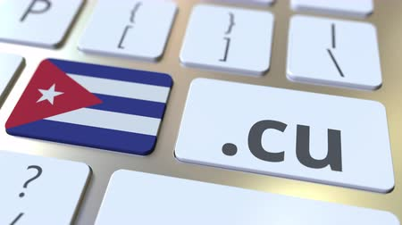 registrace : Cuban domain .cu and flag of Cuba on the buttons on the computer keyboard. National internet related 3D animation