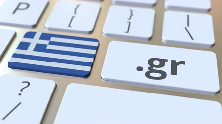 register : Greek domain .gr and flag of Greece on the buttons on the computer keyboard. National internet related 3D animation