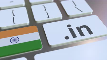 registration : Indian domain .in and flag of India on the buttons on the computer keyboard. National internet related 3D animation Stock Footage