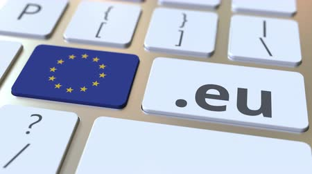 doména : European domain .eu and flag of the European Union on the buttons on the computer keyboard. National internet related 3D animation