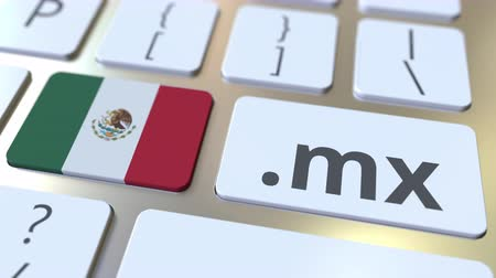 domein : Mexican domain .mx and flag of Mexico on the buttons on the computer keyboard. National internet related 3D animation
