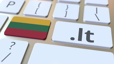 litvánia : Lithuanian domain .lt and flag of Lithuania on the buttons on the computer keyboard. National internet related 3D animation