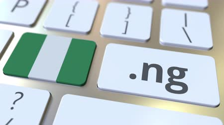 nigeria flag : Nigerian domain .ng and flag of Nigeria on the buttons on the computer keyboard. National internet related 3D animation