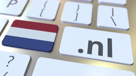 registration : Domain .nl and flag of the Netherlands on the buttons on the computer keyboard. National internet related 3D animation Stock Footage