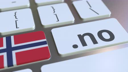 doména : Norwegian domain .no and flag of Norway on the buttons on the computer keyboard. National internet related 3D animation Dostupné videozáznamy