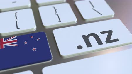 nowa zelandia : Domain .nz and flag of New Zealand on the buttons on the computer keyboard. National internet related 3D animation