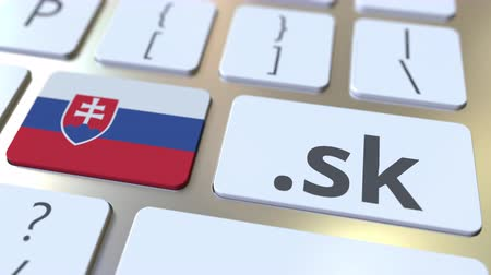 register : Slovak domain .sk and flag of Slovakia on the buttons on the computer keyboard. National internet related 3D animation Stock Footage