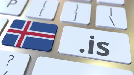 doména : Icelandic domain .is and flag of Iceland on the buttons on the computer keyboard. National internet related 3D animation