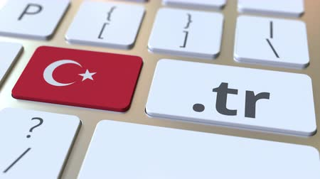 registrace : Turkish domain .tr and flag of Turkey on the buttons on the computer keyboard. National internet related 3D animation Dostupné videozáznamy