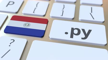 doména : Paraguayan domain .py and flag of Paraguay on the buttons on the computer keyboard. National internet related 3D animation