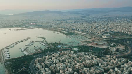 aerial athens : Aerial hyperlapse of coastal districts of Athens in the evening, Greece