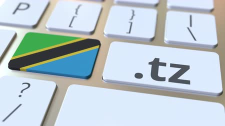 doména : Tanzanian domain .tz and flag of Tanzania on the buttons on the computer keyboard. National internet related 3D animation Dostupné videozáznamy