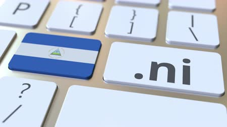 nicaraguan : Nicaraguan domain .ni and flag of Nicaragua on the buttons on the computer keyboard. National internet related 3D animation