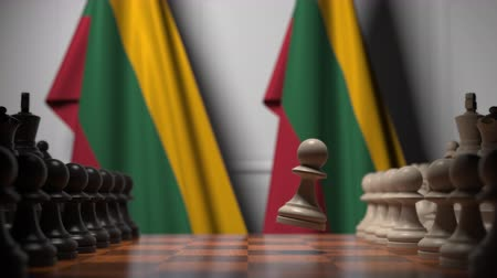 Литва : Chess game against flags of Lithuania. Political competition related 3D animation Стоковые видеозаписи