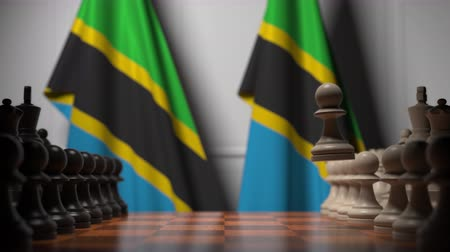 ライバル : Chess game against flags of Tanzania. Political competition related 3D animation