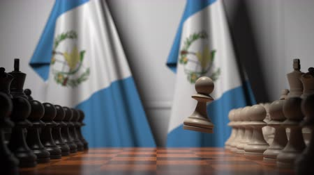 oposição : Chess game against flags of Guatemala. Political competition related 3D animation Vídeos