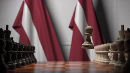Латвия : Chess game against flags of Latvia. Political competition related 3D animation