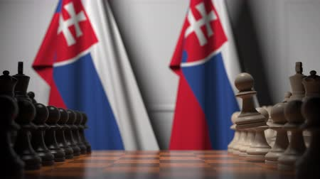 muhalefet : Chess game against flags of Slovakia. Political competition related 3D animation