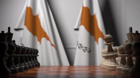 oposição : Chess game against flags of Cyprus. Political competition related 3D animation