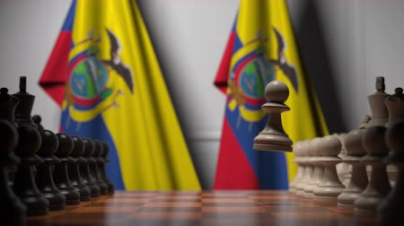 oposição : Chess game against flags of Ecuador. Political competition related 3D animation Vídeos