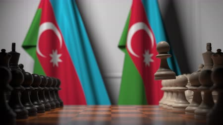 schachbrett : Chess game against flags of Azerbaijan. Political competition related 3D animation