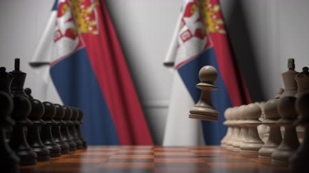 oposição : Chess game against flags of Serbia. Political competition related 3D animation