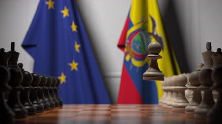membro : Flags of EU and Ecuador behind pawns on the chessboard. Chess game or political rivalry related 3D animation Vídeos