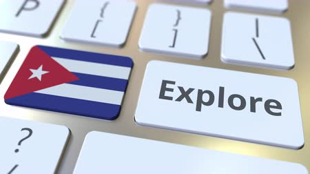 cubano : EXPLORE word and national flag of Cuba on the buttons of the keyboard. 3D animation