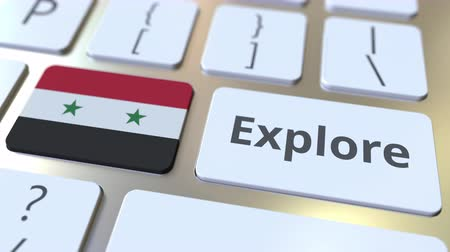 syrian : EXPLORE word and national flag of Syria on the buttons of the keyboard. 3D animation