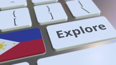 philippine : EXPLORE word and national flag of Philippines on the buttons of the keyboard. 3D animation