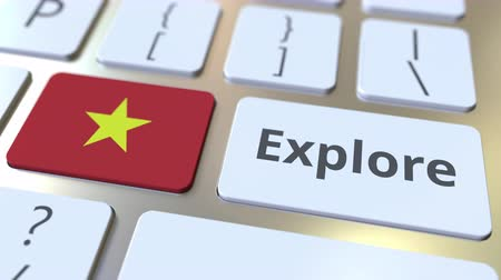 klíčové slovo : EXPLORE word and national flag of Vietnam on the buttons of the keyboard. 3D animation Dostupné videozáznamy