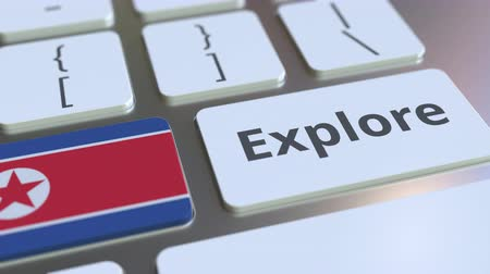 dprk : EXPLORE word and national flag of North Korea on the buttons of the keyboard. 3D animation
