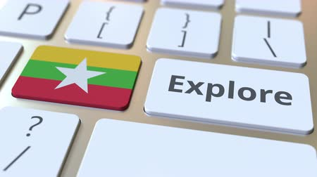 mianmar : EXPLORE word and national flag of Myanmar on the buttons of the keyboard. 3D animation