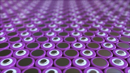 마이너스 : Many purple lithium-ion batteries used in industrial battery packs for portable electronics and electric vehicles. Loopable 3D animation 무비클립