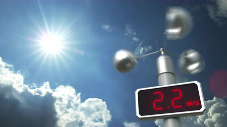 velocímetro : Anemometer displays 10 meters per second wind speed. Weather forecast related 3D animation Stock Footage