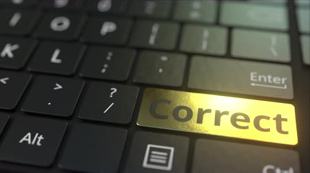 типы : Black computer keyboard and gold correct key. Conceptual 3D animation Стоковые видеозаписи
