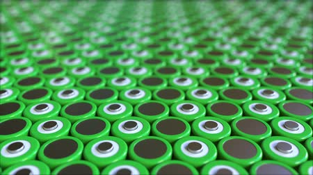 ion : Many green lithium-ion batteries. Loopable 3D animation Stock Footage
