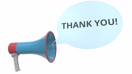 мегафон : Blue loudspeaker with THANK YOU message on speech bubble. Conceptual 3D animation