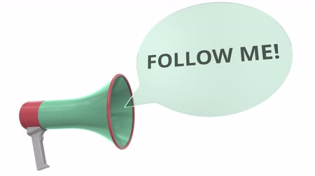 объявлять : Green loudspeaker with FOLLOW ME message on speech bubble. Conceptual 3D animation Стоковые видеозаписи