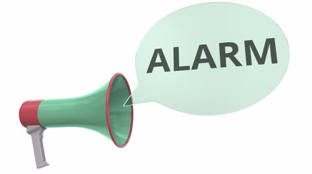 мегафон : Green megaphone with ALARM message on speech bubble. Conceptual 3D animation