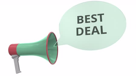 alto falantes : Green megaphone with BEST DEAL message on speech bubble. Conceptual 3D animation Stock Footage
