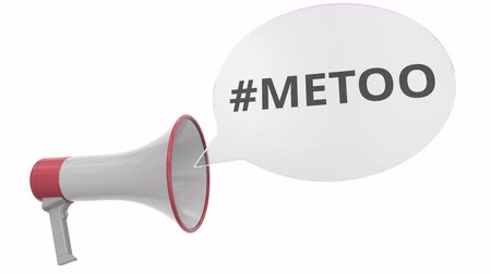 объявлять : Grey megaphone with METOO hashtag on speech bubble. Conceptual 3D animation Стоковые видеозаписи